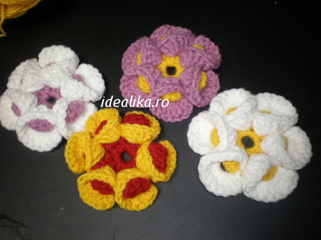 Flower crochet 3 D – Double crochet