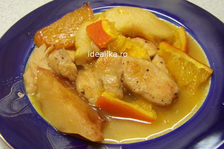 Mancare de gutui cu pui si portocale – Reteta video