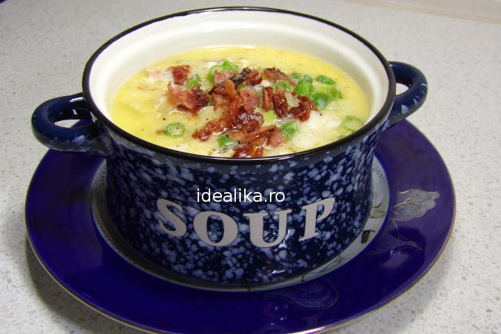Supa de cartofi cu bacon si mozzarella – Reteta video