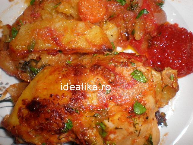 Pui la cuptor cu cartofi si legume